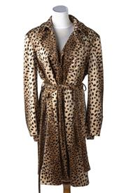Sale 8550F - Lot 22 - A Table Eight jungle print button up 3/4 coat with belt, size 16.