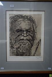 Sale 8582 - Lot 2042 - Roma Lewington Aboriginal Portrait etching and aquatint, 58.5 x 48cm(frame), signed lower right