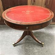 Sale 8699A - Lot 715 - Antique Style Mahogany Drum Table with tooled red leather insert top and two drawers, diameter 90cm