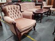 Sale 8744 - Lot 1053 - Carved Timber Framed Parlour Suite with Light Upholstery (A/F)