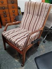 Sale 8822 - Lot 1077 - Vintage Teak Armchair on Castors with Upholstered Seat and Back