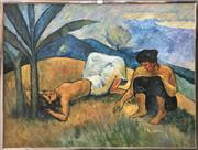 Sale 8811 - Lot 2002 - Artist Unknown - Two Figures by the Banana Tree oil on canvas, 73 x 89cm, signed lower right