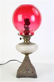 Sale 8905S - Lot 699 - A ruby glass converted lamp. Height 48cm