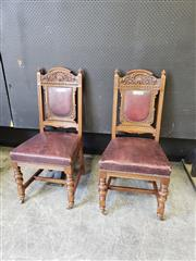 Sale 9031 - Lot 1066 - Set of Six Edwardian Carved Oak Chairs, with shell top rail, red leather back & seat, on turned legs with stertchers