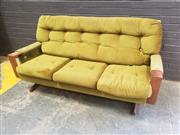 Sale 9034 - Lot 1072 - Teak Framed Fler Three Seater Lounge with Green Velvet Upholstery (H:85 W:176 D:84cm)
