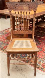 Sale 9060H - Lot 63 - A group of eight similar  provincial spindle back chairs , mainly with pressed backs and cane seats. Height of back 104cm