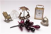 Sale 9078 - Lot 196 - A Seiko Carriage Clock Together With Other ornaments incl Novelty Police Bell