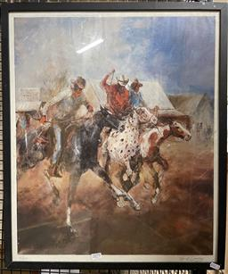 Sale 9139 - Lot 2083 - Pro Hart Country Races, photolithograph, frame: 40 x 38 cm, signed -