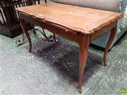 Sale 8559 - Lot 1015 - French Cherrywood Occasional or Lamp Table, with leather panel slide & two end drawers, on cabriole legs