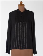 Sale 8550F - Lot 89 - A Jones, New York, 100% black silk transparent shirt with ribbon detail, size 12.