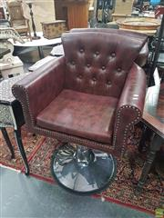 Sale 8648C - Lot 1022 - Pair of Spotted Burgundy Barber Chairs