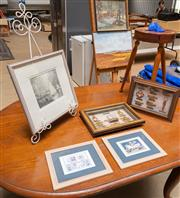 Sale 8677A - Lot 93 - A conte drawing by Preece of a sailing boat, together with two nautical themed boxed framed rope studies and two childrens prints.