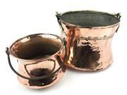 Sale 8688A - Lot 89 - Old Copper Pots with Swing Handles (2), diameter: 19cm & 24cm