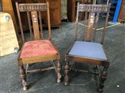Sale 8697 - Lot 1068 - Pair of Dark and Light Oak Harlequin Dining Chairs with Drop in Seats