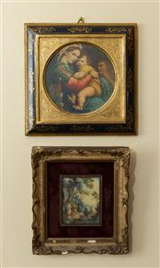 Sale 8774A - Lot 79 - Two framed miniature prints, one of mother and child, the other a bucolic landscape
