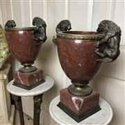 Sale 8795K - Lot 98 - A pair of rouge marble vases
