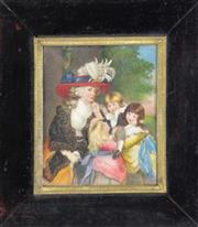 Sale 8957 - Lot 67 - An Antique Framed Ivory Portrait Miniature, Oil Painting of A Lady Seated with Children, Attributed to Sir John Reynolds (1723-1792)