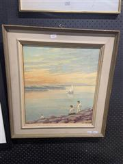 Sale 8981 - Lot 2069 - Artist Unknown Fishing by the Rocks oil on board  59 x 54cm (frame), unsigned