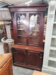 Sale 9048 - Lot 1023 - Victorian Mahogany Bookcase, with two carved glass panel doors below & matching timber doors below