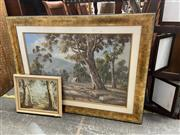 Sale 9058 - Lot 2077 - I. Hansen & A. Burns (two works), Australian Country Scenes, oil on board, frames: 88 x 117 & 38 x 48 cm, each signed