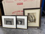 Sale 9072 - Lot 2071 - 3 Works: A Pair of Kavaler Piranesi architectural engravings together with an antique photograph of two sisters.