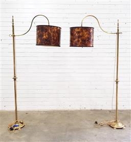 Sale 9097 - Lot 1058 - Pair of Brass Floor Lamps, with curved arms, the shades with oxidised metallic effect (h190 x w70cm)