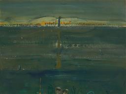 Sale 9125 - Lot 538 - John Olsen (1928 - ) Royal Spoonbill & Birdwatchers, 1972 watercolour and gouache 39 x 52 cm (frame: 58 x 69 x 3 cm) signed and date...