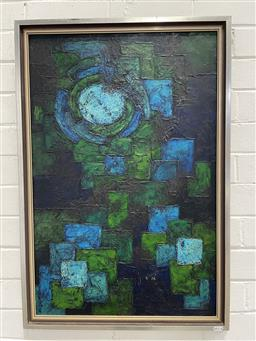 Sale 9134 - Lot 1068 - I. Barclay Abstract, 1972, oil on masonite, frame: 82 x 56 cm, signed and dated lower left -