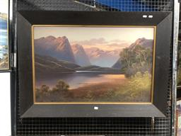 Sale 9152 - Lot 2027 - James Hutchings (C19th) New Zealand Highland Scene oil on board (AF-puncture) 75 x 105cm (frame)