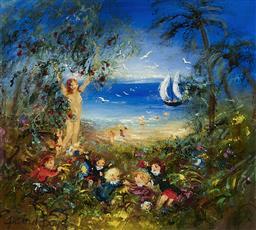 Sale 9195 - Lot 543 - DAVID BOYD (1924 - 2011) - Goddess of Fruit 44.5 x 49.5 cm (frame: 71x 77 x 4 cm)
