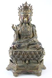 Sale 8463 - Lot 98 - Guan Yin Bronze Three Sectioned Figure