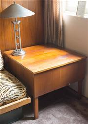 Sale 8313A - Lot 68 - A retro timber corner table, 60 x 76 x 76cm, A/F