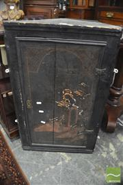 Sale 8317 - Lot 1019 - C18th Black Lacquer Corner Wall Cabinet, the single door with Chinoiserie decoration (distressed)