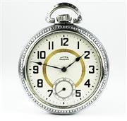 Sale 8402W - Lot 60 - DEUBER HAMPDEN OPEN FACE POCKET WATCH; cream dial with golden circle, Arabic numerals, subsidiary seconds, on a 15 jewell movement N...