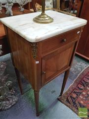 Sale 8416 - Lot 1038 - Early 20th Century French Bedside Cabinet, with white marble top, drawer & sunburst panel door