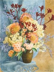 Sale 8484 - Lot 574 - Fiona Craig (XX - ) - Gumblossoms and Kangaroo Paw, 1989 76 x 45cm