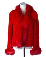Sale 8550F - Lot 36 - A scarlet cross hatch rabbit fur jacket, with fur collar and cuffs, size M.