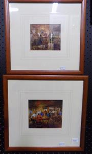 Sale 8563T - Lot 2067 - Hugh Sawrey - Pair of Framed Decorative Prints, 33 x 35cm (frame)