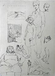 Sale 8607A - Lot 5006 - Russell Drysdale (1912 - 1981) - Sheet of Drawings, c1946 38 x 28cm