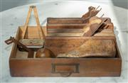 Sale 8745A - Lot 97 - A small group lot of antique profile planes, timber shoe last, rules etc.