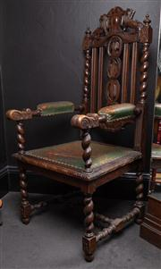 Sale 8761A - Lot 73 - An English oak jacobean style elbow chair with lion cresting, Height of back 127cm W x 61cm, D x 54cm