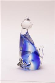 Sale 9018 - Lot 43 - An Italian Sommerso Figure of a Seated Cat, Probably Murano, H:14.5cm