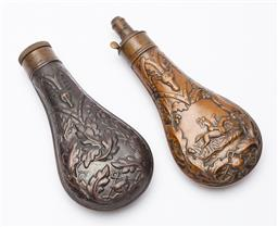 Sale 9130E - Lot 51 - A pair of copper near matching gunpowder flasks; one with screw top and the other featuring men on horsebacks, with dispenser attach...