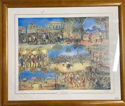 Sale 9139 - Lot 2085 - Pro Hart Festival Features photolithograph, ed. 155/950, frame: 62 x 72 cm, signed -