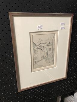Sale 9147 - Lot 2013 - Elmar Vass Street in Villeneuve-Loubet, 1932, pencil on paper, frame 39 x 31 cm, unsigned, labelled verso -