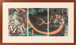 Sale 9170H - Lot 2 - Utagawa Yoshitsuya (1822 - 1866), Raika breaks Hakamadares magical spell and captures him,  signed Ichieisai Yoshitsuya, Japanese...