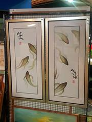 Sale 8648B - Lot 2097 - Framed Japanese Koi Prints, Signed Psimas