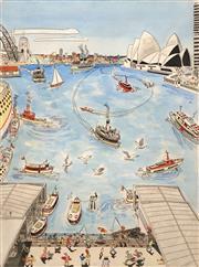 Sale 8656 - Lot 507 - Peter Kingston (1943 - ) - Circular Quay 56 x 42cm
