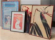 Sale 8677A - Lot 95 - A Modigliani poster together with a pair of abstract studies in black and red, and a John Singleton advertising poster