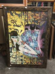 Sale 8771 - Lot 2093 - Artist Unknown - Mother and Child, acrylic on canvas, 103 x 73cm (frame), unsigned